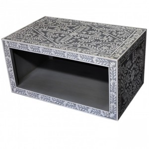 Pandora Bone inlay Gray Floral Coffee Table