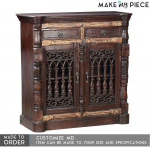 Antique Jali Carved Solid wood Sideboard Dark Brown