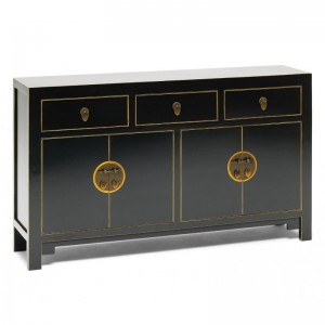 Golden Dragon Oriental Painted Solid Wood Black Large Sideboard 160x40x85cm
