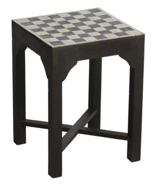 Maaya Bone Inlay Black White Geometric Side Table Lamp Table