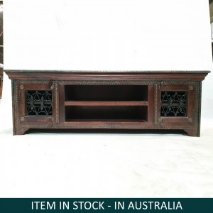 Indian Antique Solid Wood Brass TV UNIT Metal Jali Doors 150x50x50cm
