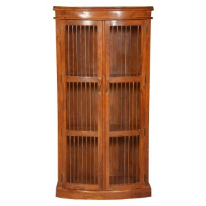 Shutter Indian Solid Wood Wooden Bars Curio Display Cabinet Bookcase