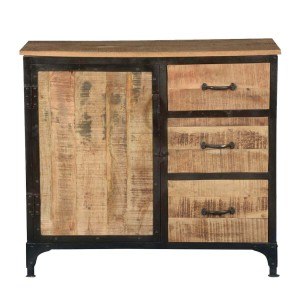Miller Indian Solid Wood 3 Drawer Industrial Buffet Sideboard Cabinet