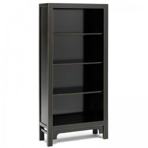 Golden Dragon Oriental Painted Solid Wood Black Bookshelf 80x30x170cm