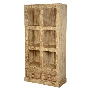 Killeen 6 Open Shelf Reclaimed Wood Rustic Cube Bookcase With Drawers