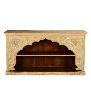 Escondido 2 Open Shelf Rustic Reclaimed Wood Wide Arched Bookcase