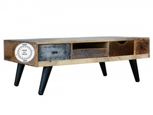 Lava Industrial Tv Unit Chest of Drawers Brass coated Natural wood