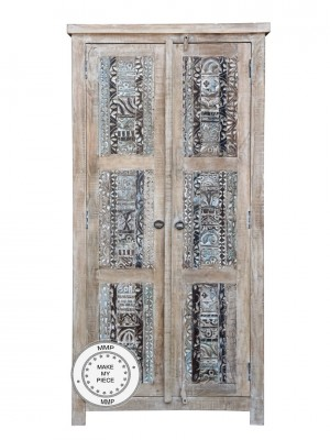 Yennora Indian Solid Wood Wardrobe Cabinet With Carved Doors