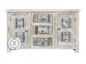 Yennora Indian Solid Wood Buffet Sideboard With Carved Drawers