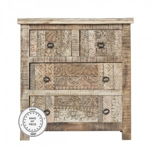 Indian Hand Carved Solid Wood Chest of Drawers Natural 80x40x85 cm