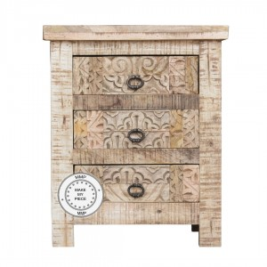 Indian Hand Carved Solid Wood Chest of Drawers Natural