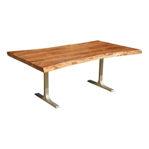 Solid Wood & Iron Base Santa Fe Live Edge Dining Table