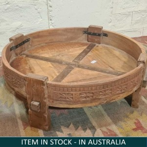 Tribal Chakki Antique Grinder Full Round Coffee Table Natural