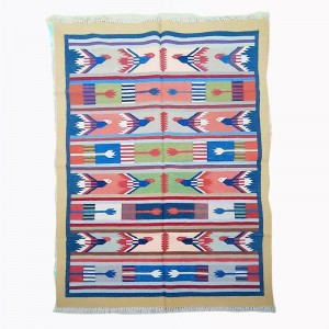 Kilim Wool Handwoven Cotton Dhurrie Durry Rug Jute Floor Covering Pattern 6