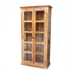 Indian Solid Wood Bookshelf Cabinet With Glass Doors Natural  100 x 45 x 200 Cm