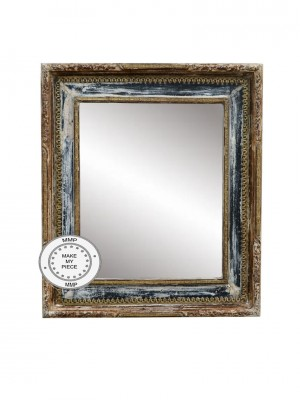 Solid Indian Wood Mirror with Bleached Brass Frame