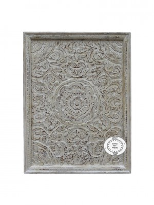 Dynasty Hand Carved Indian Wooden Carved Panel Bedhead Whitewash