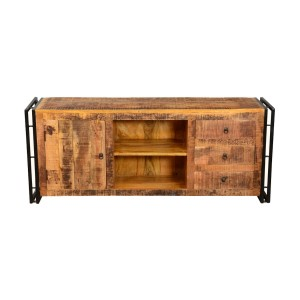 Miller Industrial Mango Wood TV Stand Media Console Cabinet