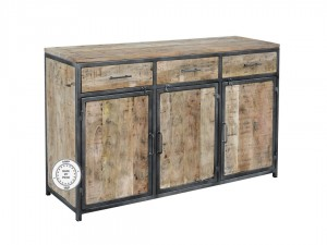 Industrial Metal Factory Indian Solid Wood Buffet Sideboard Natural