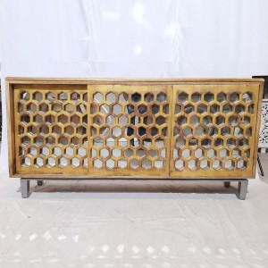 Handcarved Honeycomb mirrored Golden Sideboard console sliding doors 170x40x85cm