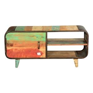 Retro Rainbow Reclaimed Wood & Iron TV Console Media Cabinet