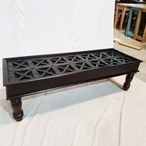 Solid Wood X Design Black Large Rectangle coffee Table 156x54x46cm