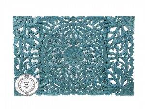 Dynasty Hand Carved Indian Wooden Carved Panel Bedhead Blue