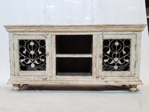 NEW Metal Jali White Rustic Solid wood Entertainment TV unit plasma stand Indian