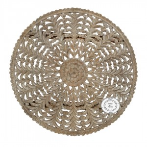 Dynasty Hand Carved Indian Solid Wood Round Wall Decorative Rosette Panel