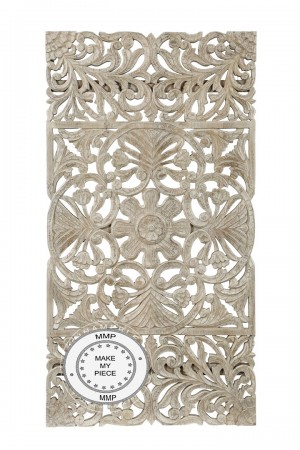 Dynasty Hand Carved Indian Solid Wood Oriental Carved Panel White