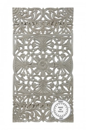 Dynasty Hand Carved Indian Solid Wood Oriental Carved Panel Gray