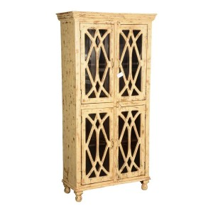 French Arched Diamond Grill Distress Mango Wood Display Cabinet Armoire With Shelves