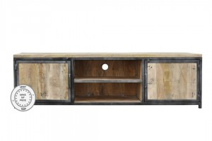 Industrial Metal Factory Indian Solid Wood Tv Cabinet WIth Metal Natural