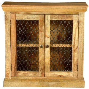 Jali Grille Mango Wood Freestanding Storage Cabinet Natural