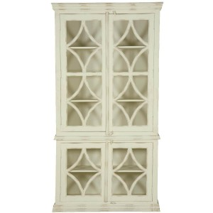 French Arched Diamonds Solid Mango Wood Display Cabinet Armoire With Shelves