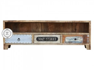 Lava Industrial Indian Solid Wood Tv Cabinet Natural