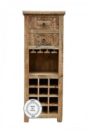 Indian Hand Carved Solid Wood Bar Cabinet Bottle Wrack Natural