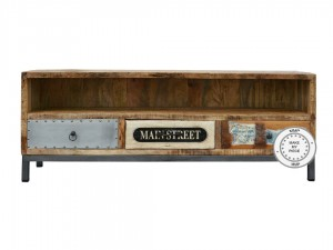 Lava Industrial Indian Solid Wood With Metal Tv Cabinet Natural