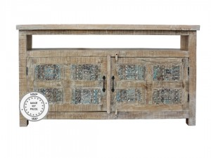Yennora Indian Solid Wood TV Cabinet With Carved Doors
