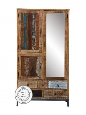 Lava Industrial Indian Solid Wood Wardrobe Cabinet With Mirror
