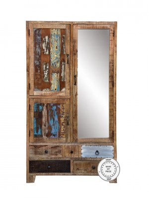 Lava Industrial Indian Solid Wood Display Wardrobe Cabinet With Mirror