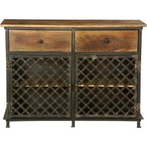 Metal Factory Industrial Iron With Mango Wood 2 Drawers Small Cabinet
