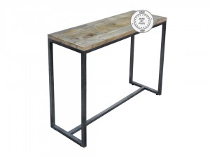 Industrial Metal Factory Indian Solid Wood Console Hall Table Natural