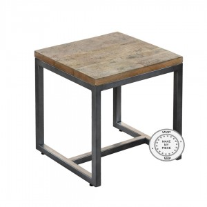 Metal Factory Indian Solid Wood Industrial Stool With Metal Natural