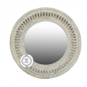 Mughal Garden Indian Hand Carved Round Mirror Frame White