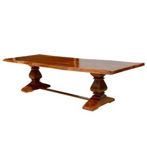 Live Edge Acacia Wood Trestle Farmhouse Dining Table