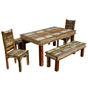 Sierra Reclaimed Wood Furniture Dining Table with 2 Chairs & 2 Benches