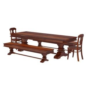 Tiraspol Rustic Solid Wood Trestle Dining Table Benches & 2 Chairs