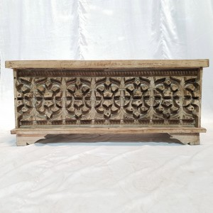 Hand Carved Solid Wood Block Pattern Blanket Box Coffee Table Toy Chest Storage