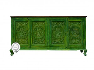 Bleached Indian Hand Carved Wooden Large Buffet Sideboard Green